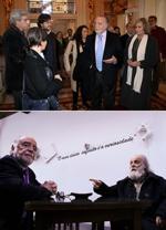 No Teatro S. João e com o escultor José Rodrigues